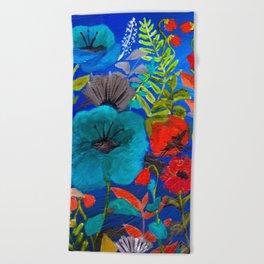 Blue Garden Beach Towel