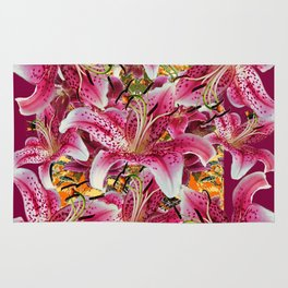 BURGUNDY GARDEN ASIAN LILY FLOWERS FLORAL ART Rug