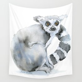 Ring-tailed Lemur Watercolor Wall Tapestry