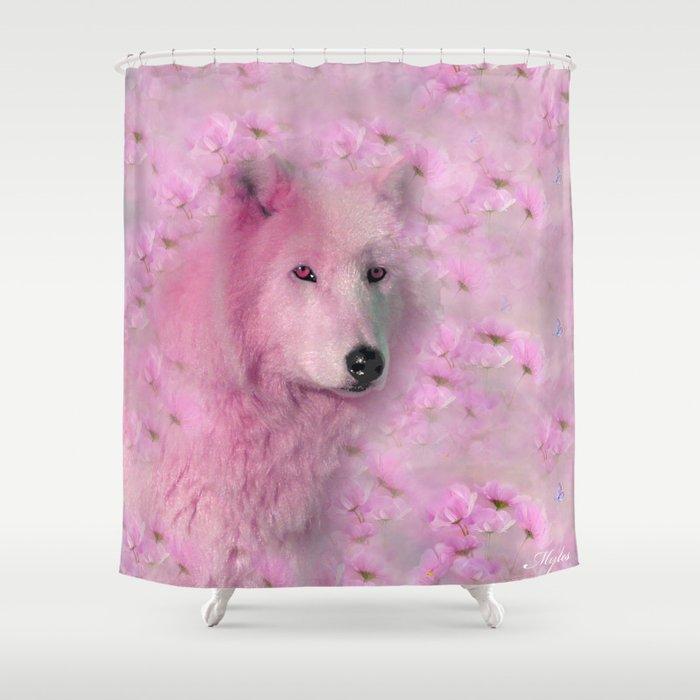 PINK WOLF FLOWER SPARKLE Shower Curtain