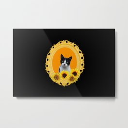Frame with Sunflowers and black and white Cat Metal Print