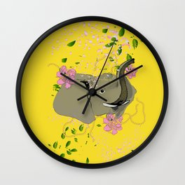 Lucky Elephant in Yellow Wall Clock