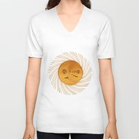 sun and moon V-neck T-shirts featuring sun-moon by Vila Propuh
