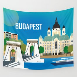 Budapest, Hungary - Skyline Illustration by Loose Petals Wall Tapestry
