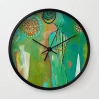 "flora bowley Wall Clocks featuring ""Wish Believe"" Original Painting by Flora Bowley by Flora Bowley"