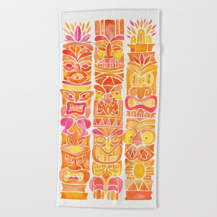Tiki Totems – Orange Ombré Beach Towel