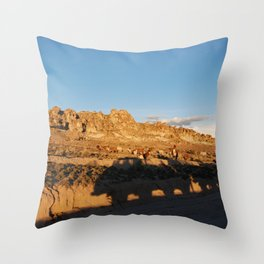 Sunset with shades and lamas Throw Pillow