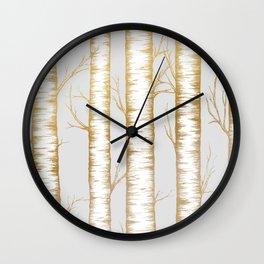 Metallic Birch Trees Wall Clock