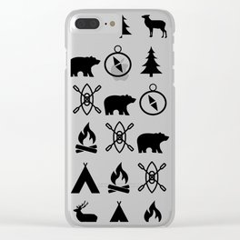 Outdoor Icon Pattern Clear iPhone Case
