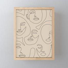 Faces In Beige Framed Mini Art Print