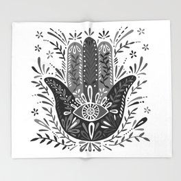 Hamsa Hand – Black & Grey Palette Throw Blanket