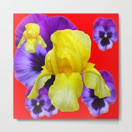 RED COLOR YELLOW-PURPLE PANSY ART Metal Print
