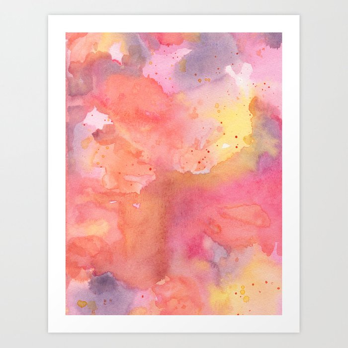 Sunset Color Palette Abstract Watercolor Painting Art Print By Polkadotsempire
