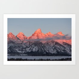 Glowing Pink Sunrise in Grand Teton National Park, Wyoming Art Print