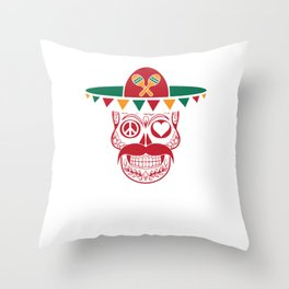 Peace Love Sugar Skull Funny Cinco De Mayo Mexican Humor Design Throw Pillow