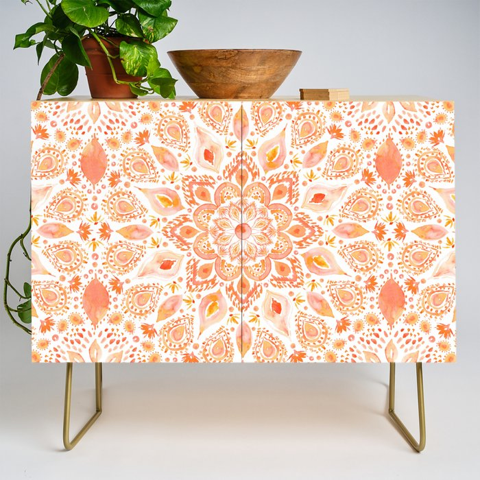 WOMANLY FORCES Coral Lotus Watercolor Mandala Credenza