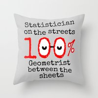 math Throw Pillows featuring Math Geek by mailboxdisco