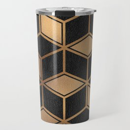 Charcoal and Gold - Geometric Textured Cube Design II Travel Mug