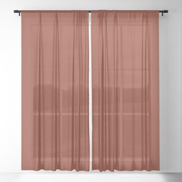 Rich Maroon Rust Solid Color Sheer Curtain