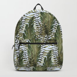 topical leaves in blue background Backpack