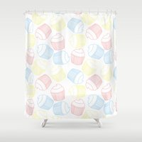 cupcakes Shower Curtains featuring Cupcakes by Sara Showalter