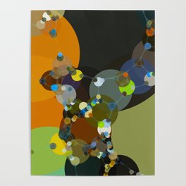 jasmine - bright abstract design of orange lime green grey and blue Poster