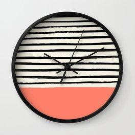 Coral x Stripes Wall Clock