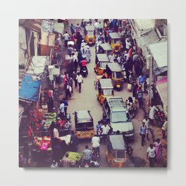 Crowded Indian Street - Streets of India Metal Print
