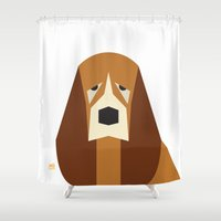 the hound Shower Curtains featuring Basset Hound by Page 84 Design