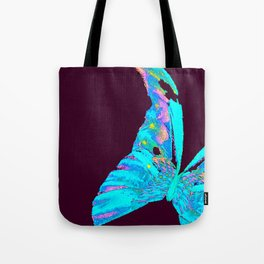 Turquoise Butterfly On A Dark Background #decor #buyart #society6 Tote Bag