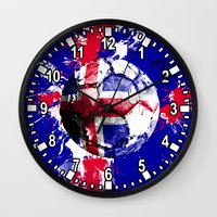 iceland Wall Clocks featuring football Iceland by seb mcnulty