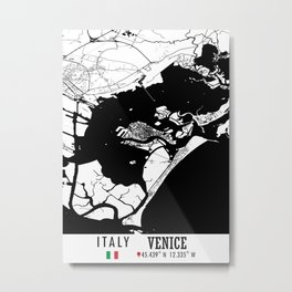 Venice, ITALY Road Map Art - Earth Tones Metal Print