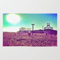 santa monica Area & Throw Rugs featuring Santa Monica by SefoG