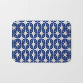 Mid-Century Modern Starburst Pattern in Stone and Blue Bath Mat
