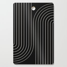 Minimal Line Curvature - Black and White II Cutting Board
