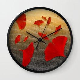 Red Ginko Wall Clock