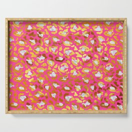 Cute and Dreamy Leopard Golden Spots Pink Print Serving Tray