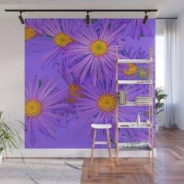 LAVENDER PURPLE ASTER FLOWERS ART Wall Mural