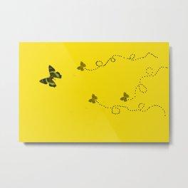 Butterflies on yellow Metal Print