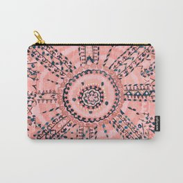 Light Pink Wildflower Sunshine I // 18th Century Colorful Pinkish Dusty Blue Gray Positive Pattern Carry-All Pouch