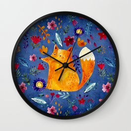 The Smart Fox in Flower Garden Wall Clock