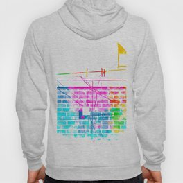 brick building with colorful painting abstract in pink blue yellow green red Hoody
