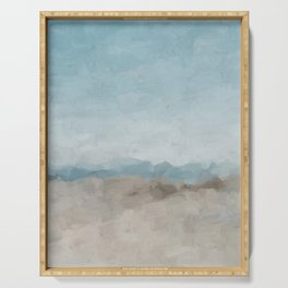 Ocean Horizon Sandy Sunny Beach Day Clear Blue Skies Abstract Nature Painting Art Print Wall Decor  Serving Tray