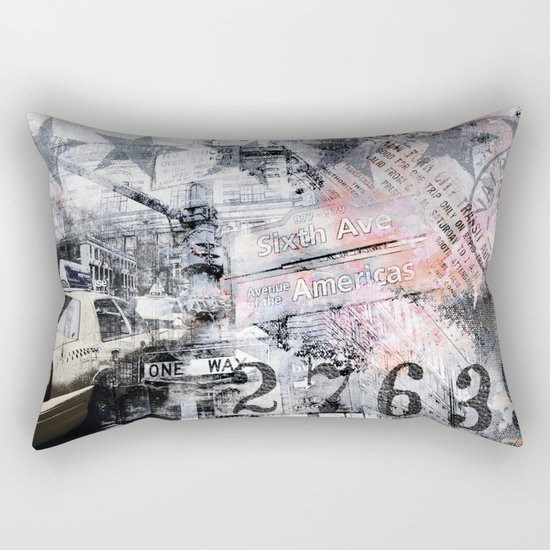 New York  street mixed media art Rectangular Pillow