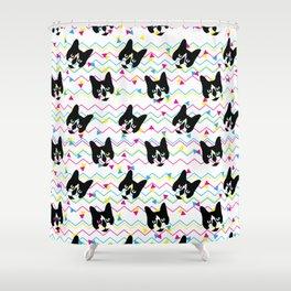 CMYK Cat Pattern Shower Curtain