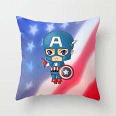 Chibi Captain America Throw Pillow