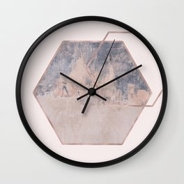 Blush geometric abstract grunge Wall Clock