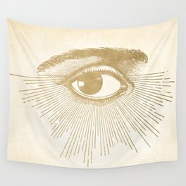 I See You. Vintage Gold Antique Paper Wall Tapestry