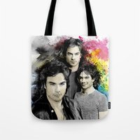 vampire diaries Tote Bags featuring Inspired by Damon Salvatore and the Vampire Diaries by Purshue feat Sci Fi Dude