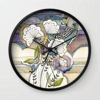 night sky Wall Clocks featuring Night Sky by Jessica Wilde